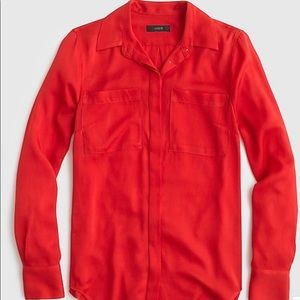 J. Crew Red Silk Pocket Blouse Size 16
